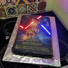 wars birthday cake wars birthday cake with illuminated lightsabers geekologie