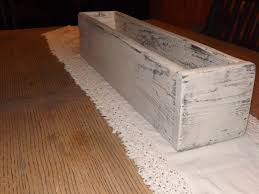 distressed white planter box table trough rustic table centerpiece