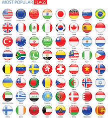 European Flags Images Round Glossy Most Popular Flags Vector Collection Stock Vector Art