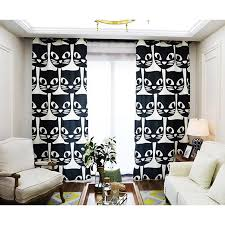 Cool Curtains Black And White Cat Unique Cool Modern Curtains