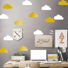 popular gold wall decal buy cheap gold wall decal lots from china little gold cloud wall decal stickers kids room decor removable white cloud vinyl wall decals