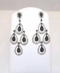 diamond chandelier earrings garfinkle s jewelry 14k white gold black and white diamond