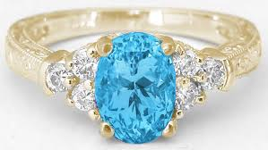 blue topaz engagement rings swiss blue topaz ring with engraving in gold gr 6093