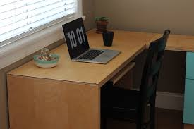 L Shaped Modern Desk by Ana White L Shape Modern Plywood Desk Diy Projects