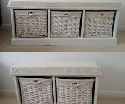 bench suitable storage bench with wicker baskets light wood