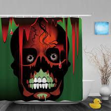 Sugar Skull Bathroom Halloween Shower Curtain Hooks