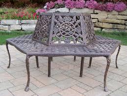 oakland living tea rose cast aluminum wrap around tree bench