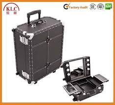 rolling makeup case with lighted mirror professional desktop rolling makeup station light mirror leather