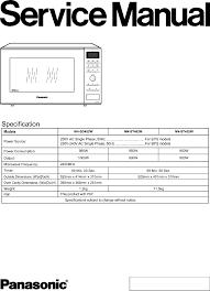 panasonic microwave oven nn sd452w user guide manualsonline com