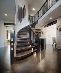 greige walls staircase contemporary with curved staircase