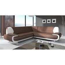 canapé d angle design pas cher canapé d angle design marron et blanc marita xl achat vente canape