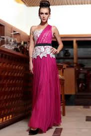 chiffon lace fuchsia and white prom dresses with black ribbon two