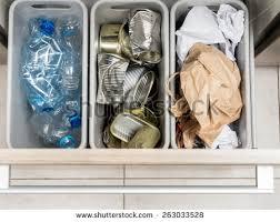 Kitchen Cabinet Waste Bins by Three Plastic Trash Bins Kitchen Cabinet Stock Photo 263033528