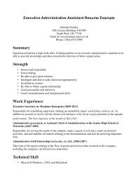 resume sample for administrative assistant position amateur