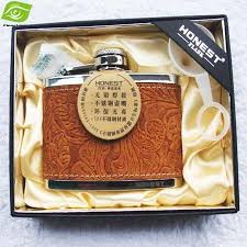 engraved box luxury hip flask engraved leather 6oz stainless steel hip flask