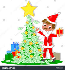manager santa claus rich christmas tree stock vector 721526488