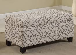 Ottomans Benches Rw 8717 Grey Lattice Patterned Fabric Storage