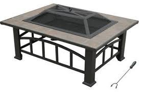 Patio Table Tile Top Outdoor Rectangular Fire Pit Tile Top Table Backyard Patio Wood