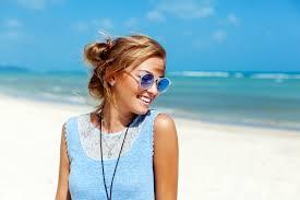 close blonde sunglasses enjoying spare