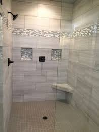 bathroom walk in shower designs large charcoal black pebble tile border shower accent https www
