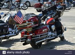 A American Flag Pictures Red Harley Davidson With A American Flag Stock Photo Royalty Free