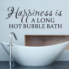 bathroom wall art decal mural home decor happiness long hot bubble bath wall quote decal