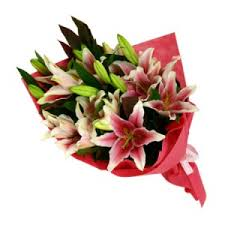 Bouquet Of Lilies Just Wrapped Lilies European Hand Tied Cut Bouquet No Vase In