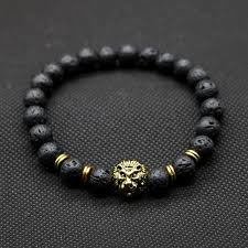 mens black bead bracelet images Wholesale antique gold color buddha leo lion head bracelet black jpg