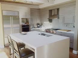 Silestone White Zeus Quartz Counter With Taupe Glass Subway Tile - Silestone backsplash