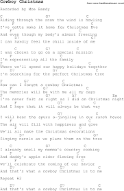 christmas carol song lyrics with chords for cowboy christmas