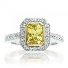 radiant cut halo engagement rings ring yellow radiant cut bezel pave halo engagement ring