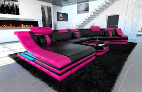 Pink Leather Chair by Xxl Luxury Sectional Sofa Turino Cl With Led Lights Black Pink