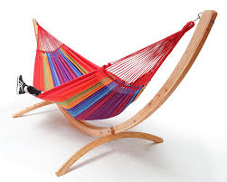 arc hammock stand made out of larch wood