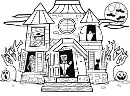 coloring pages amusing haunted house coloring pages to print