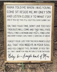 Simple Man Lyrics Printable Version | simple man lyrics signfarmhousehandpainted framed sign