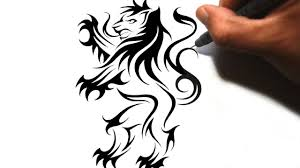 how to draw a rampant lion tribal tattoo design style youtube