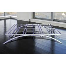 silver steel bed frame with purple color combination completed