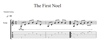 the first noel christmas song solo guitar sheet music best