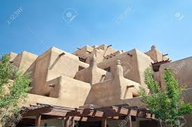 adobe style hotel in santa fe new mexico trying to look like