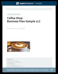 coffee shop business plan sample legal templates
