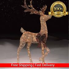 48 gold pre lit reindeer outdoor decoration deer w 150