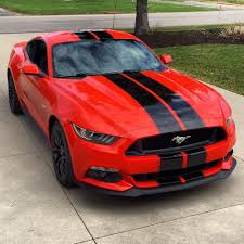 Matte Black Ford Mustang 2015 Ford Mustang Shelby Gt350 Style Black Racing Stripes Ebay