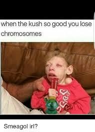 Smeagol Memes - when the kush so good you lose chromosomes smeagol irl meme on me me