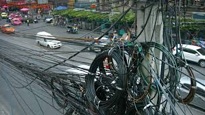 Messy Wires Bangkok Thailand Circa Feb 2015 Messy Spaghetti Like Coils Of