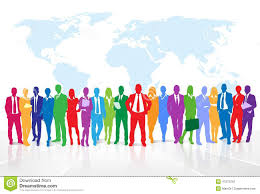 World Map Silhouette Business People Group Colorful Silhouette Concept Illustration