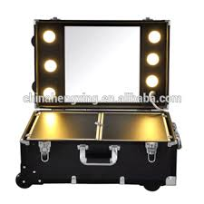 portable light for makeup artist portable rolling studio makeup artist pvc cosmetic case with light