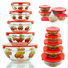 imperial home 5 pcs nested glass bowl set with apple design red