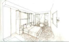 Interior Design Sketches by Bedroom Sketch Interior Perspective Bedroom Black White Interior