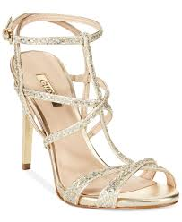 gold glitter car guess women u0027s carnneya strappy t strap dress sandals in metallic