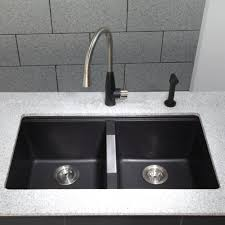 Kraus KGUB  Inch Undermount Double Bowl Granite Kitchen Sink - Black granite kitchen sinks